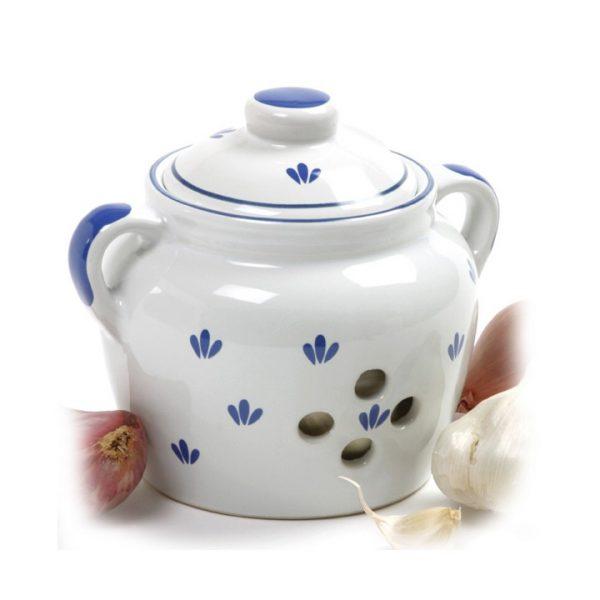 White glazed ceramic garlic keeper
